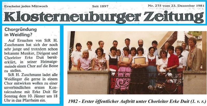 1981 Chorgründung